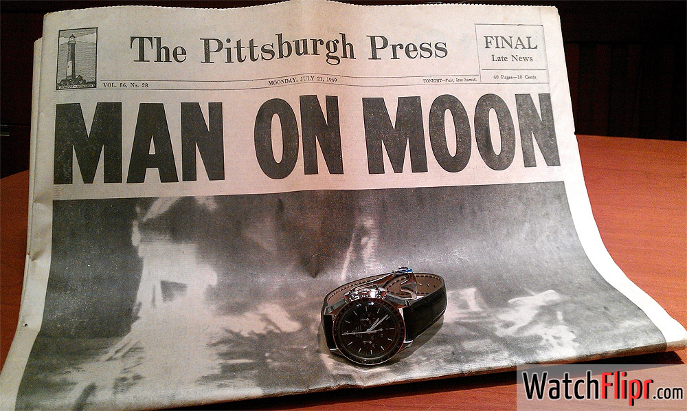 """Man on the Moon"" 1969 Pittsburgh Press Newspapers Front Page - Omega Speedmaster Watch"