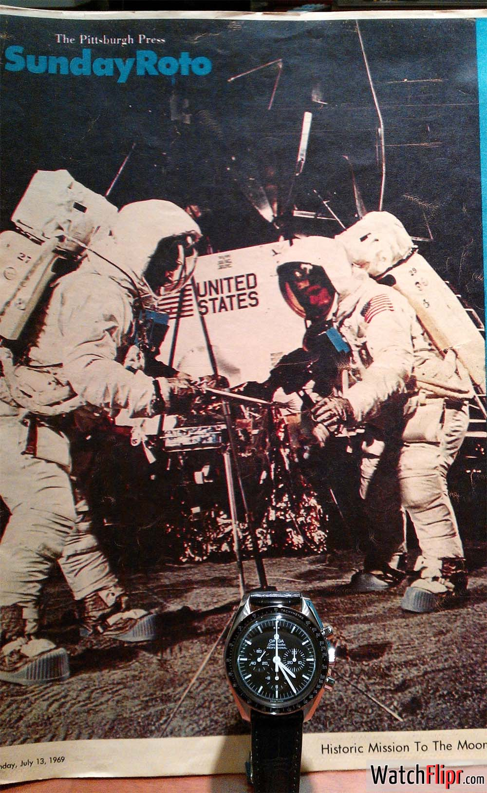 """Man on the Moon"" 1969 Pittsburgh Press - Omega Speedmaster Watch"