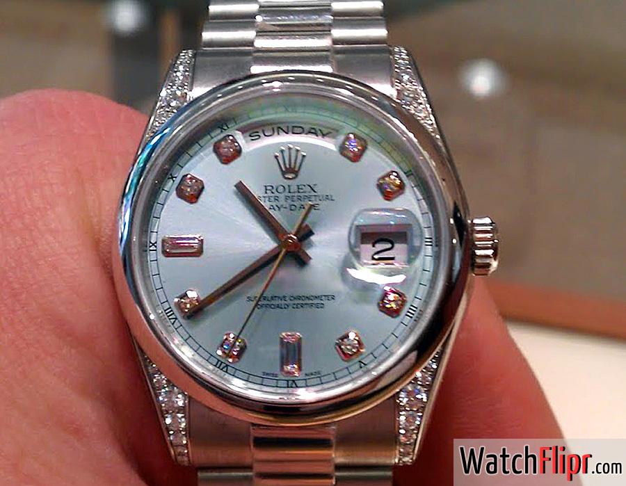 Rolex Glacier BLue Platinum Day Date President Datejust