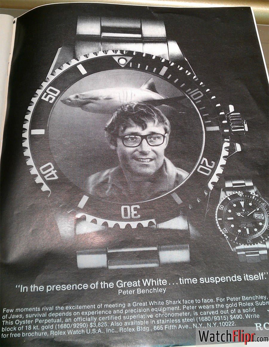 Rolex Submariner Advertisement from 1975 1976 - Peter Benchley of Jaws