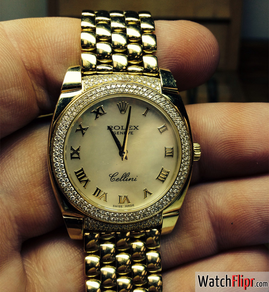 Rolex Cellini MOP Diamonds 18K Gold
